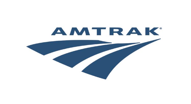 logo amtrak transporte pasajes letras azules